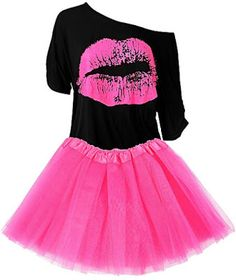 Women's Costume Accessories Set Lips Print T-Shirt Fashion Adult Tutu Skirt Necklace (XXL) Adult Tutu Skirts, 80s Skirts, 80s Dress, Costume Dress, Easy 80s Costume, Chemise Fashion, Lips Shirt, T Shirt, 80s Costume