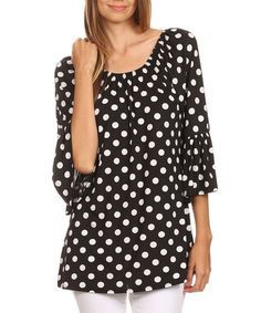 Love this Black & White Polka Dot Bell-Sleeve Top - Plus on #zulily! #zulilyfinds