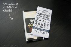 Idée cadeau pour nounou : tablette chocolat avec étiquette personnalisée (printable)