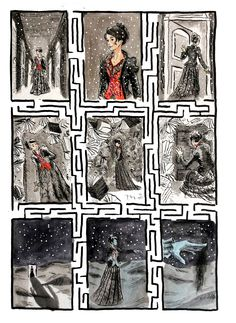 This week's page is one more from erinmorgenstern 's THE NIGHT CIRCUS. We see Celia, on of the protagonists of the story, navigating the dream-like Labyrinth, one of my favorite tents in the...