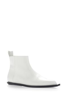White Vitello Leather Ankle Boot by MARNI for Preorder on Moda Operandi