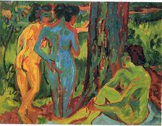 "Ernst Ludwig Kirchner, Aschaffenburg, Germany (1880-1938). German expressionist. Painting, printmaking. ""Three Nudes""."