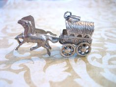 Vintage Sterling Silver Horse and Wagon Charm by charmingellie, $40.00