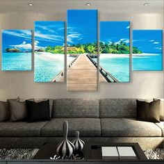 4 panel the crystal island canvas spray painting in 2018