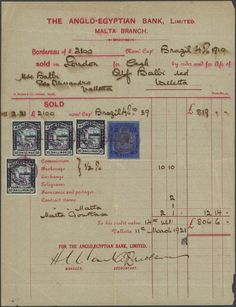 Malta, Michel 14 (4), 50. 1921, 10 s. blue-black (4) and King Georg 2 1/2 s. ultramarine tied by fiscal cancel and pen stroke to complete bank receipt, folded, otherwise fine (M)