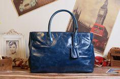 Blue Leather Tote BagShoppercomputerIpadMacBook Bag  by NewBag, $119.90