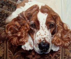 """Gevlekte Spaniel, huisdier aangepaste olieverfschilderij portret door puci, 10 x 12"""""""