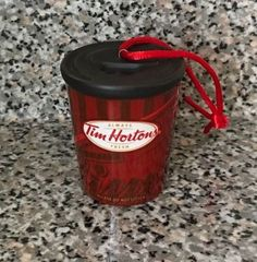 Tim Hortons Christmas Ornament Hanging Take Out Red Coffee Mug Cup Tim's #TIMHORTONS