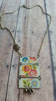 antique tin necklace with multi colored by EclecticRedesigns