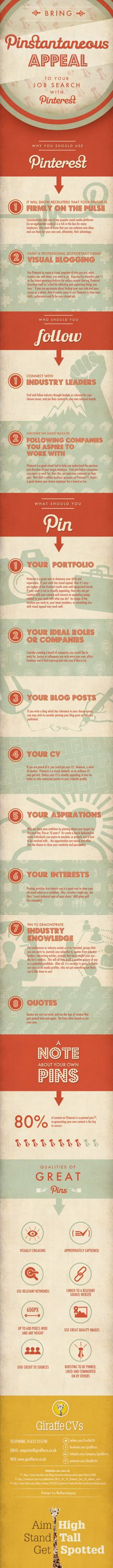#Pinterest #infographic: Bring Pinstantaneous appeal to your job search with Pinterest by CV writing service Giraffe CVs.  #jobs
