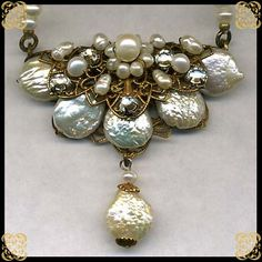 Classic vintage baroque pearl, seed pearl, Austrian crystal, & antiqued filigree necklace.