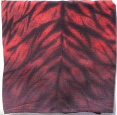 Red and black Arashi Shibori cotton gauze