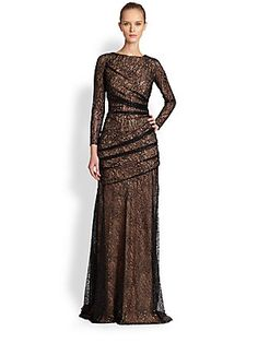 Carmen Marc Valvo Long-Sleeve Lace Mermaid Gown (mother of the bride saksfifthavenue.com)