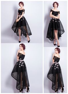 Black A-line Off-the-shoulder High Low Tulle Formal Dress With Embroidery