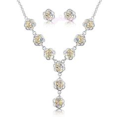 Fashion Camellia Crystal Jewelry Set Flower Necklace/Earring Wedding Gift N237