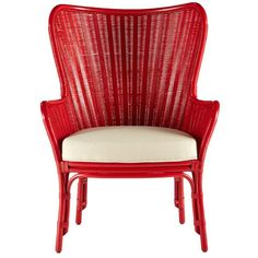 Wing Back Rattan Chair – Red