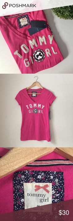 Tommy Hilfiger Pink TShirt Sold Out. Bright pink Tommy Girl Tee by Tommy Hilfiger. VNeck. Size Medium. NWT. Tommy Hilfiger Tops Tees - Short Sleeve