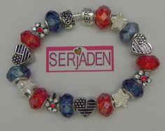 Red White Blue Heart Flags Flower w Stones Stars Charm Serjaden Bracelet 554 | eBay  $15.00