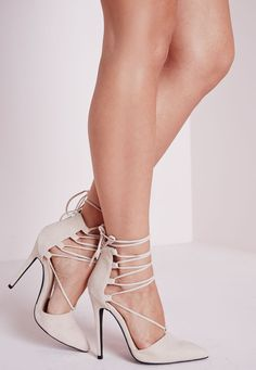 Nude Strappy Point Toe Stiletto Court Shoes | High Heel Pumps |