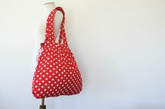 Huge cotton beach bag or nappy bag - red and white polka dot, $52.00