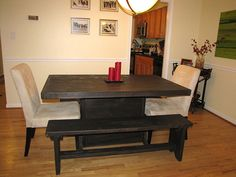 5 foot / Farmstyle Dining Room table and bench set by ModernRust,