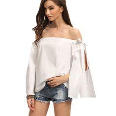 Sexy Off Shoulder T shirt Women Fashion Long Sleeve Loose Shirts Summer Womens Casual Beach Tops Tee Blusas