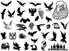 Free vector Eagles clipart silhouettes. Collection of vector Illustrations include wide variety of this flying predator: bald eagle, golden eagle, eagles soar, kite, flying eagle, tattoo eagle, eagle head, screaming eagle etc. This is a sample of full pack which contains 70+ designs. Download full pack visit - http://all-silhouettes.com/vector-eagles-clipart/. More Free Vector Graphics, www.123freevectors.com