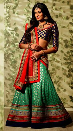 This banarasi georgette lehenga choli in lovely turquoise color with dupatta which is adorned with embroidery work. It has heavy work of zari, resham, embroidery and velvet lace completed in the skirt part which is increasing its attractiveness.This unstitched choli can be stitched in the maximum bust size of 42 inches.