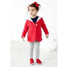 Baobab Two Tone Red Hoodie  Price: $52.95 Description:  Stylish, warm and funky red two tone girls jacket by Baobab!  Long sleeve A-line hoodie made from 100% organic cotton fleece with side pockets and single wooden button. Machine washable. Available in red with grey marle lining.