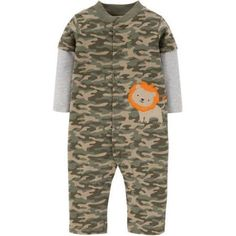 Child of Mine by Carter's Newborn Baby Boy Assorted Jumpsuits, Size: 12M, Green