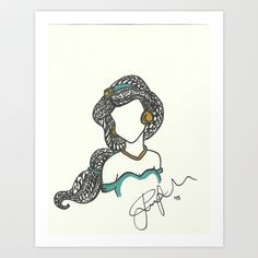 Princess Jasmine Zen Tangle Art Print by Jadie Miller - $20.00