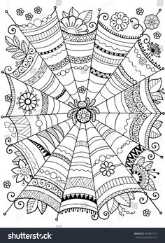 Halloween Vector background.Abstract web for textile design, greeting cards and wrapping for the gift. Template for menu, invitation, poster, banner. Coloring book for adult