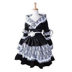 Black Lace Maid Uniform Style Sweet Lolita Kimono – USD $ 91.99