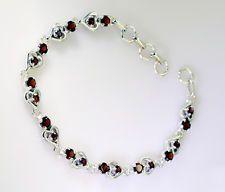 Garnet Silver marvelous indian Bracelet Red L-7.5in UK gift
