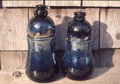 blown jars with lids, fumed glass Jar Lids, Jars, Stained Glass, Pots, Stained Glass Windows, Stained Glass Panels, Vases, Pot Lids, Colored Glass
