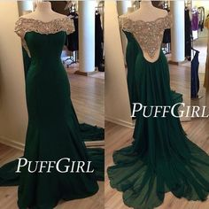 Dark Green Off The Shoulder Prom Dress With Beaded Sheer Back
