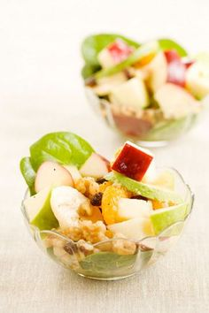 Fresh fruit salad in a cup with poppyseed dressing!