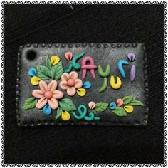 Name tag Polymer Clay Embroidery, Polymer Clay Art, Door Name Plates, Personalized Name Plates, Name Badges, Clay Design, Nameplate, Mural Art, Cold Porcelain