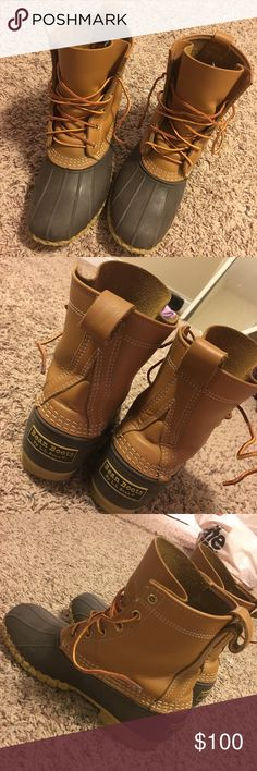 L.L Bean Boots Size 9 Size 9 original women's l.l. bean boots in the tan/brown color. I bought about a month ago but unfortunately they're too small :( they're in good condition, as I have only worn them about 10 times. They have had very little exposure to snow/rain, and the leather is slightly worn in the back. Only willing to trade for the same boots in size 10...I will not trade for anything else and the price is final 😊 L.L. Bean Shoes Winter & Rain Boots