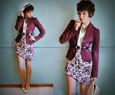 New Yorker Mens Hat, Second Hand Plum Blazer, Thrifted Black Belt, Kleidermarkt  Vintage Bow Heels, Guatemalan Street Market Stone Ring, Thrifted Silver Spike Necklace, Forever 21 Lace Top, Thrifted & Altered Asymmetrical Floral Skirt