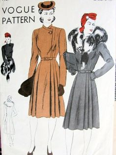 1940s COAT PATTERN DOUBLE BREASTED, LOVELY SIDE CLOSING VOGUE PATTERNS 9149
