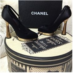 5⃣HP9/1-2,12/19,3/28.9/25Couture Chanel Gold Heels Haute Classy & Fabulous Chanel satin platform gold iconic accent edgy details captoe pump heels!Elegant,beautiful,sophisticated and sexy.Great for any occasion you want to make a statement with your outfit! A truly great pair to own.Heels are approximately 4.75 inches (equivalent to around 4in due to platform).Elegant gold round design on platform and heels.Chanel logo on the back of the ankle,on the bottom underneath the sole & on closure…