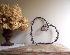 Barbed Wire Heart Wreath / Rustic Farmhouse Chic / Industrial Decor / Wedding Decor / Autumn Decor
