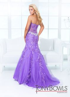 Tony Bowls 2014 Pink Purple Lace Strapless Prom Gown 114734 | Promgirl.net