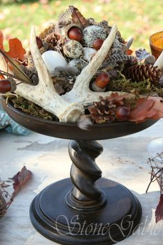 Autumn Equinox: Fall centerpiece with deer horns and other natural (rather than cultivated) harvest, for the #Autumn #Equinox.
