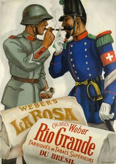 1940 Weber cigars manufacturer, with Brazilian tobacco Swiss vintage advert poster