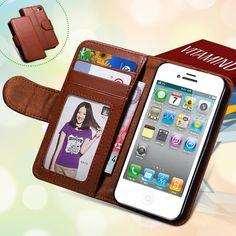 Para el iphone 4s casos de cuero del soporte ranura para tarjeta de moda billetera case para iphone 4 4s 4g marco de fotos cubierta del teléfono del tirón para el iphone 4s