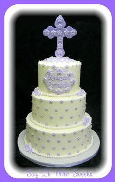 Purple Baptism Or Baby Shower Cake