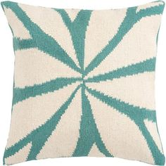 Surya Ivory Turquoise Crackle Pillow | Pure Home