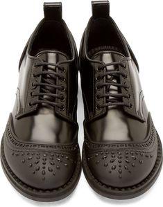 Black Leather & Rubber, Studded 'Stephen' Derbys, the Modern Rain Shoe, by Jimmy Choo, Men's Spring Summer Fashion.